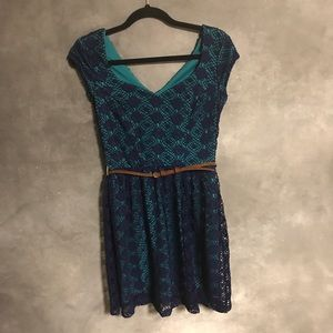 City Triangles Blue and Turquoise Dress